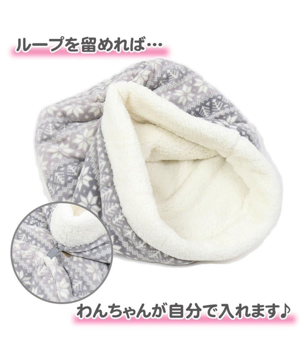 PET PARADISE ペットパラダイス ペット寝袋M 雪柄 筒型 遠赤外線 グレー
