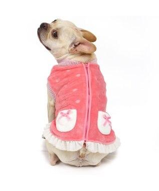 PET PARADISE ペットパラダイス 刺繍 ボアベスト 桃 〔中・大型犬〕 ピンク(淡)