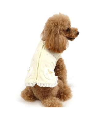 PET PARADISE ペットパラダイス 刺繍 ボアベスト 白  〔超小型・小型犬〕 白~オフホワイト