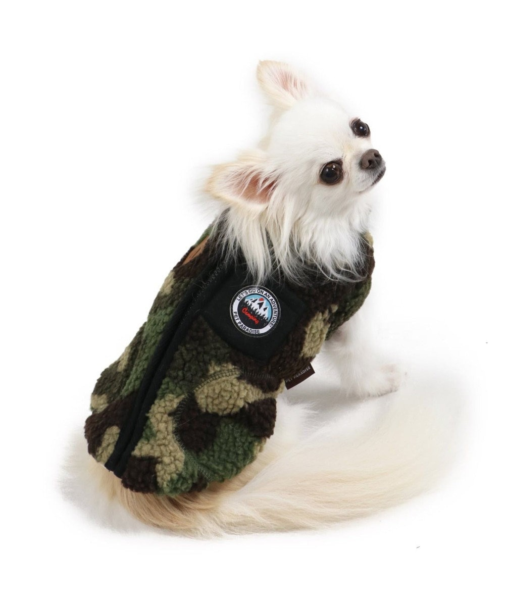 PET PARADISE ペットパラダイス もこもこ 背開き ベスト 迷彩〔超小型・小型犬〕 カーキ