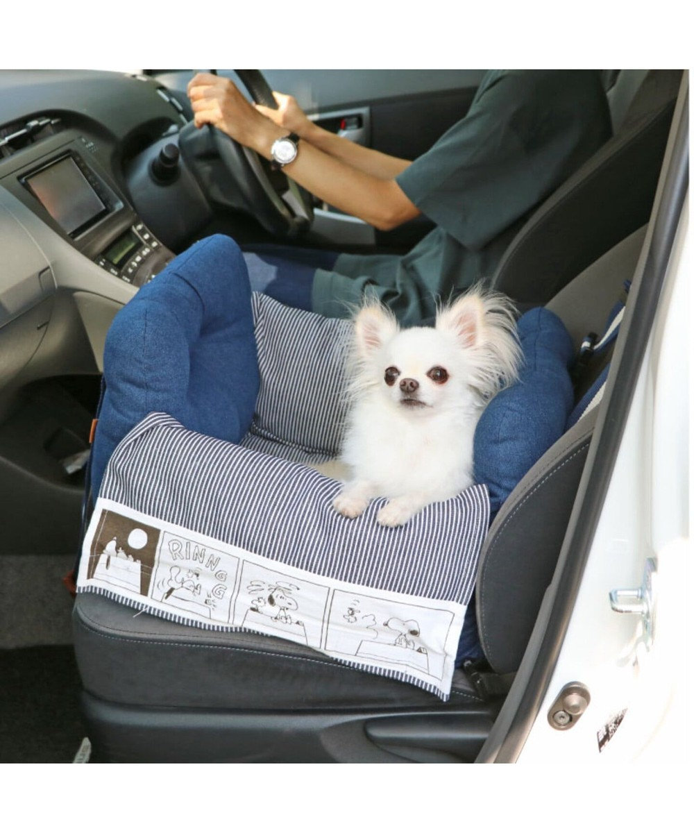 PET PARADISE 犬 キャリー スヌーピー ドライブ キャリーバッグ 【小型犬】 キャリーバック 犬 ドライブ ボックス ドライブシート ドライブベット ドライブベッド ドライブカドラー キャリーバッグ お出掛け 移動 車 おしゃれ 紺(ネイビー・インディゴ)