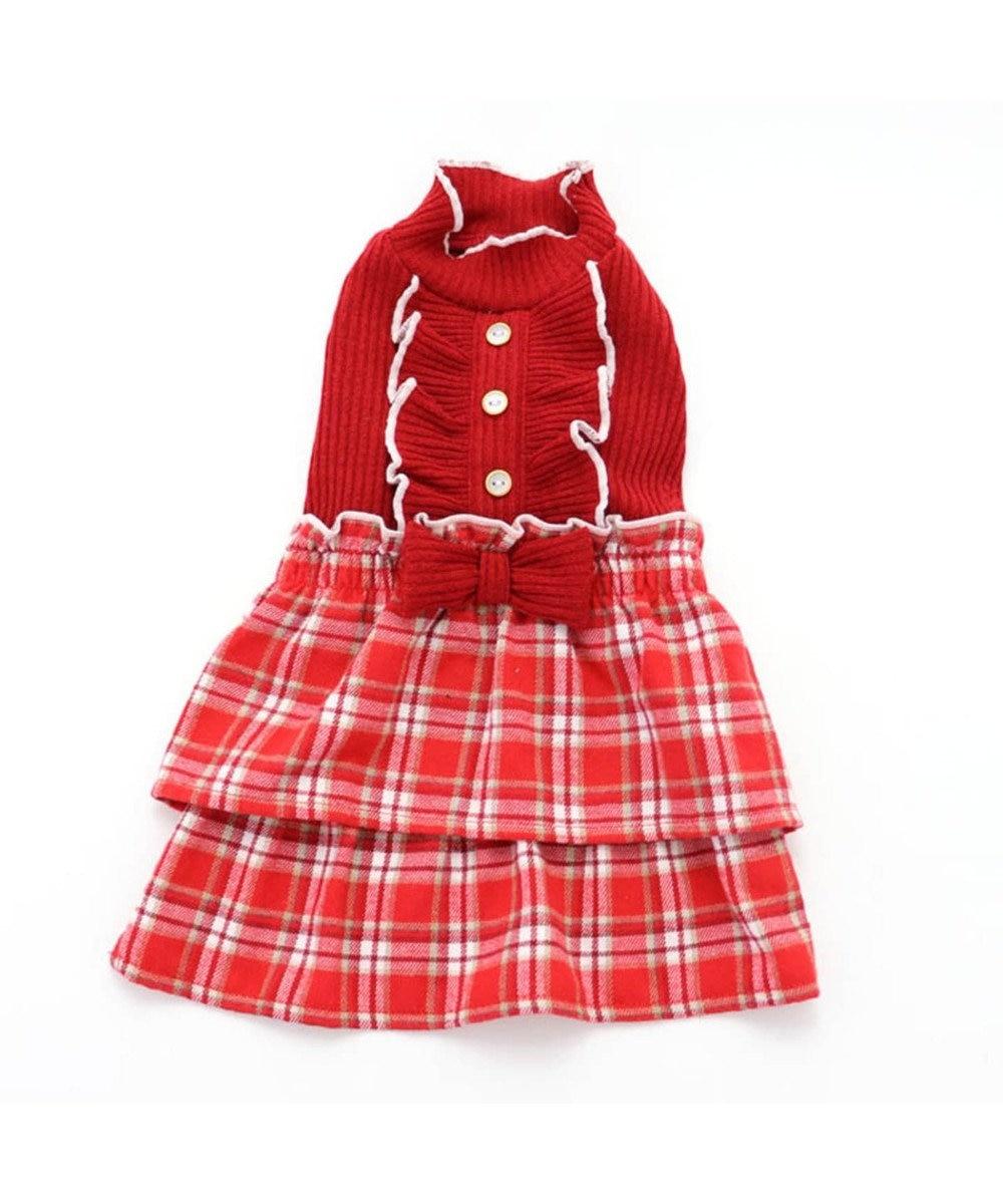 PET PARADISE ペットパラダイス チェック柄 スカートつなぎ赤〔超小型・小型犬〕 赤