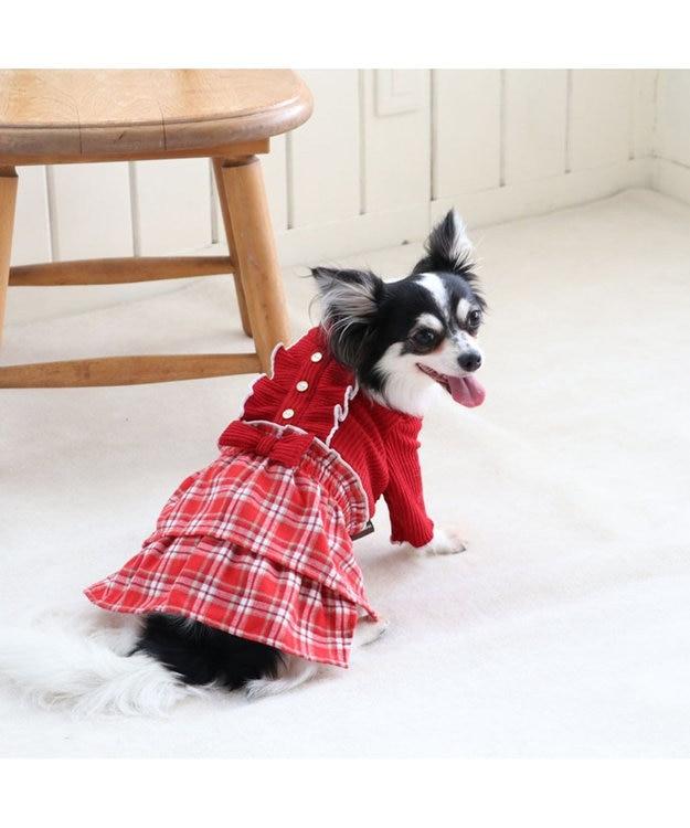 PET PARADISE ペットパラダイス チェック柄 スカートつなぎ赤〔超小型・小型犬〕