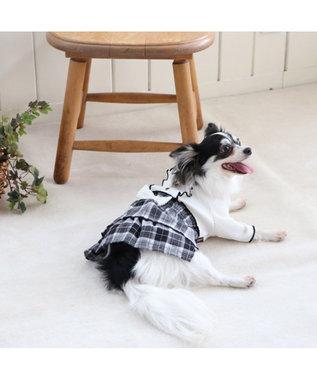 PET PARADISE ペットパラダイス チェック柄 スカートつなぎ白〔超小型・小型犬〕 白~オフホワイト