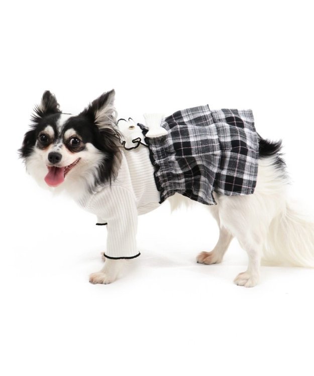 PET PARADISE ペットパラダイス チェック柄 スカートつなぎ白〔超小型・小型犬〕