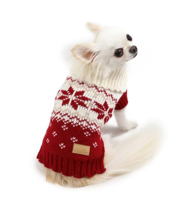 PET PARADISE ペットパラダイス 雪柄編み ニット 赤 〔超小型・小型犬〕