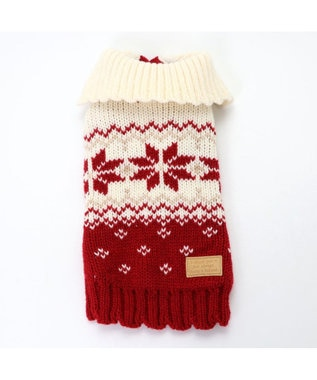 PET PARADISE ペットパラダイス 雪柄編み ニット赤〔中・大型犬〕 赤