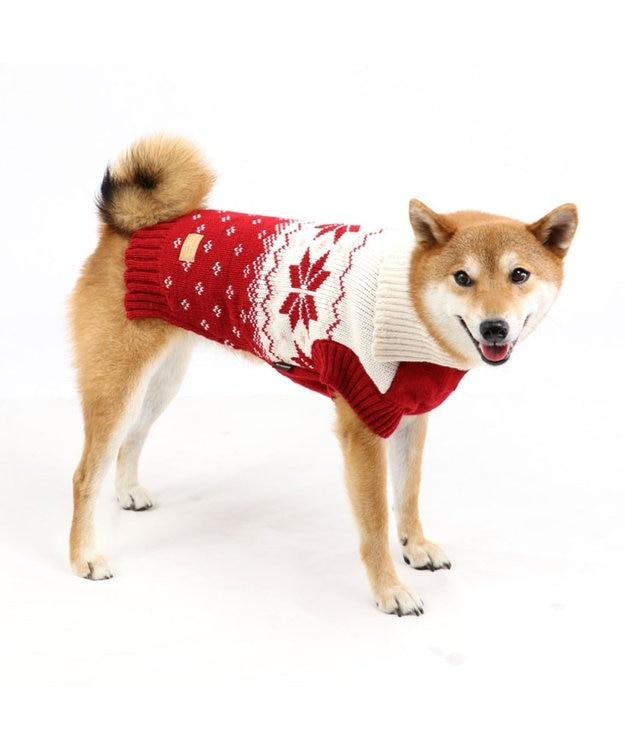 PET PARADISE ペットパラダイス 雪柄編み ニット赤〔中・大型犬〕