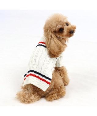 PET PARADISE J.PRESS ラインニット 〔超小型・小型犬〕 白~オフホワイト
