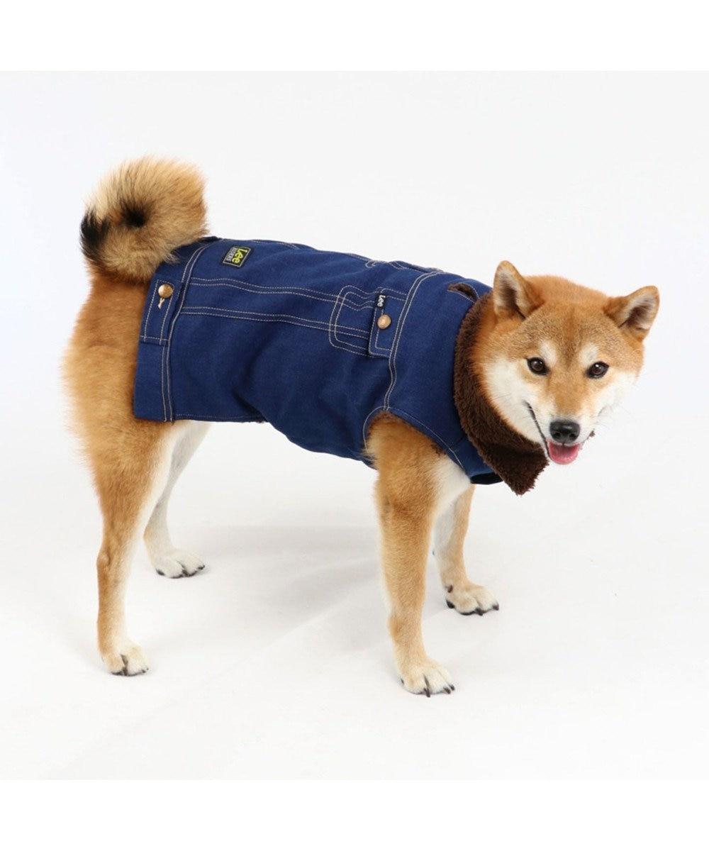 PET PARADISE Lee デニム ライダースベスト 〔中型犬〕 紺(ネイビー・インディゴ)