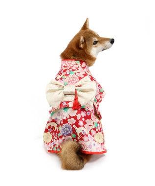 PET PARADISE ペットパラダイス 華鶴 着物 〔中・大型犬〕 赤
