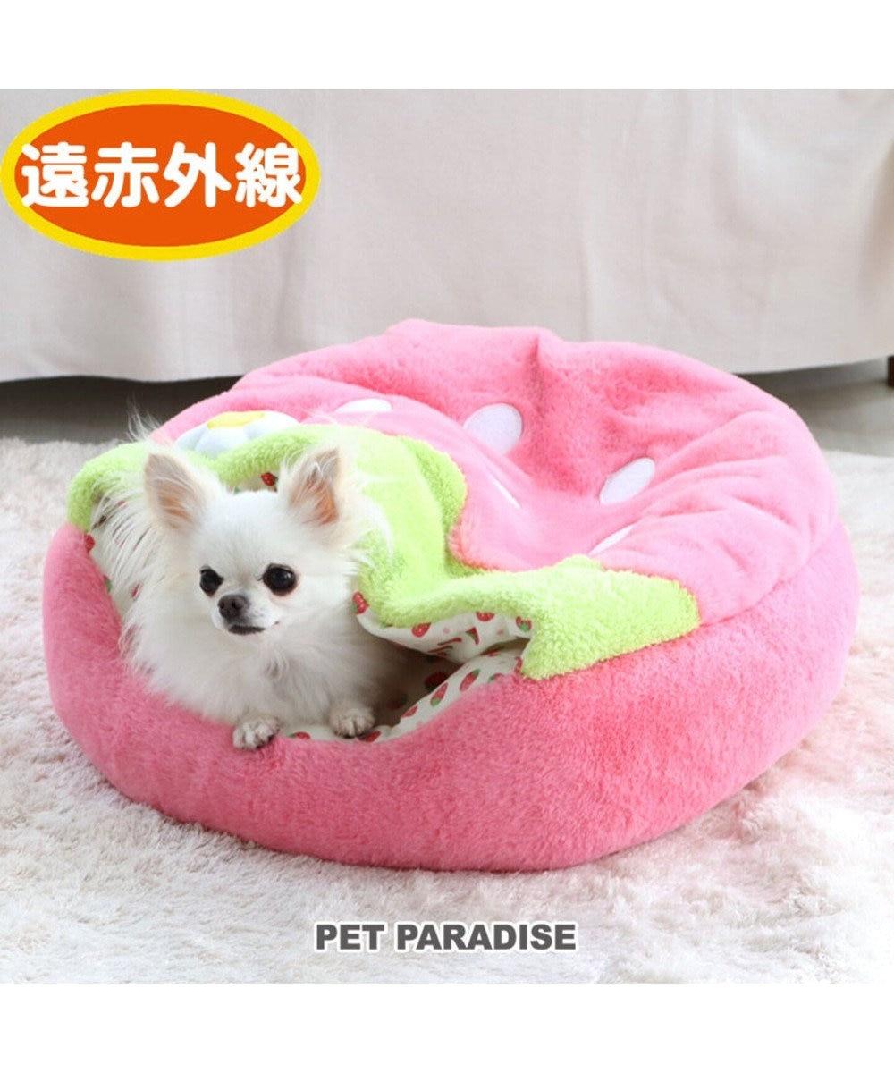 PET PARADISE ペットパラダイス 遠赤外線 いちご丸型寝袋 カドラー(50cm) ピンク(淡)