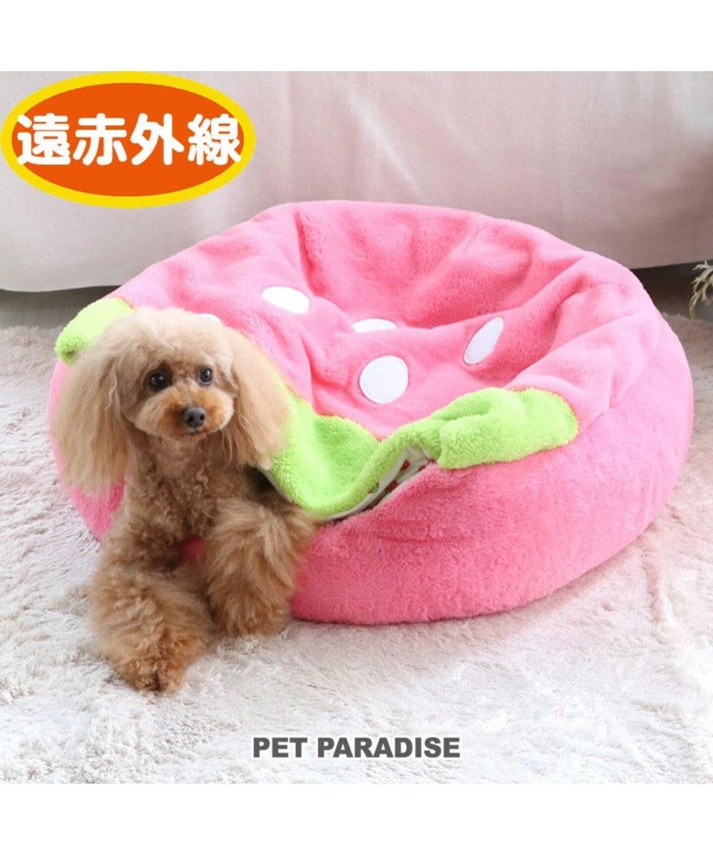 PET PARADISE 【期間限定5%ポイントUP】ペットパラダイス 遠赤外線 いちご丸型 寝袋カドラー(60cm) ピンク(淡)