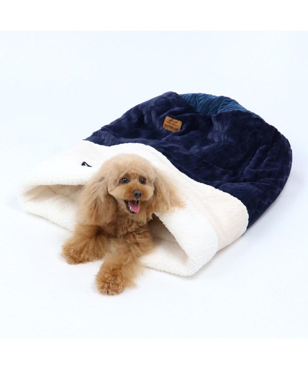 PET PARADISE ペットパラダイス 遠赤外線 編み柄 筒型寝袋カドラー(42×70cm) 紺(ネイビー・インディゴ)