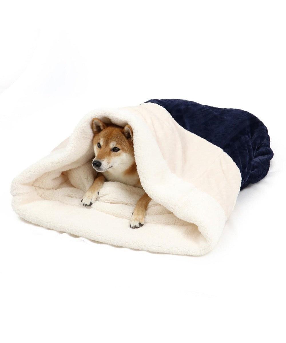 PET PARADISE ペットパラダイス 遠赤外線 編み柄 筒型寝袋カドラー(57×95 紺(ネイビー・インディゴ)