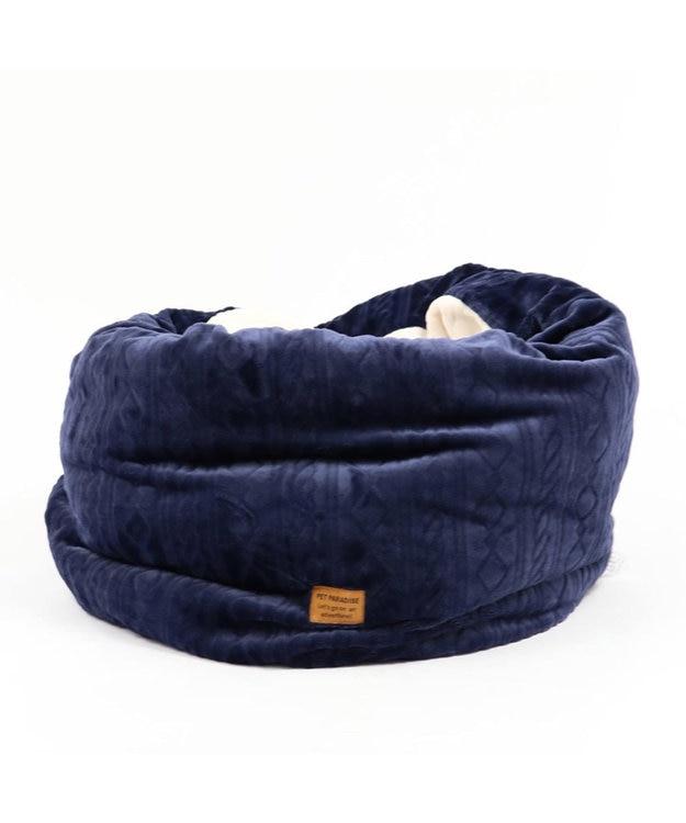 PET PARADISE ペットパラダイス 遠赤外線 編み柄 筒型寝袋カドラー(57×95