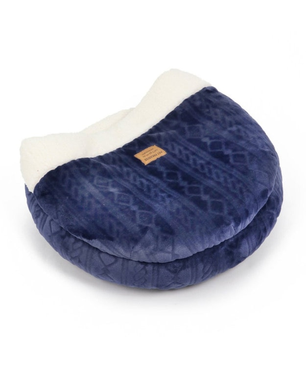 PET PARADISE ペットパラダイス 遠赤外線 編み柄丸型寝袋 カドラー(50×17