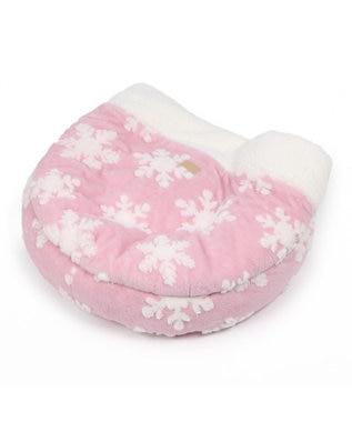 PET PARADISE ペットパラダイス 遠赤外線 雪柄 丸型 寝袋カドラー(60×20 ピンク(淡)