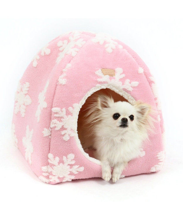 PET PARADISE ペットパラダイス 雪柄 ハウス ベッド カドラー ピンク(淡)