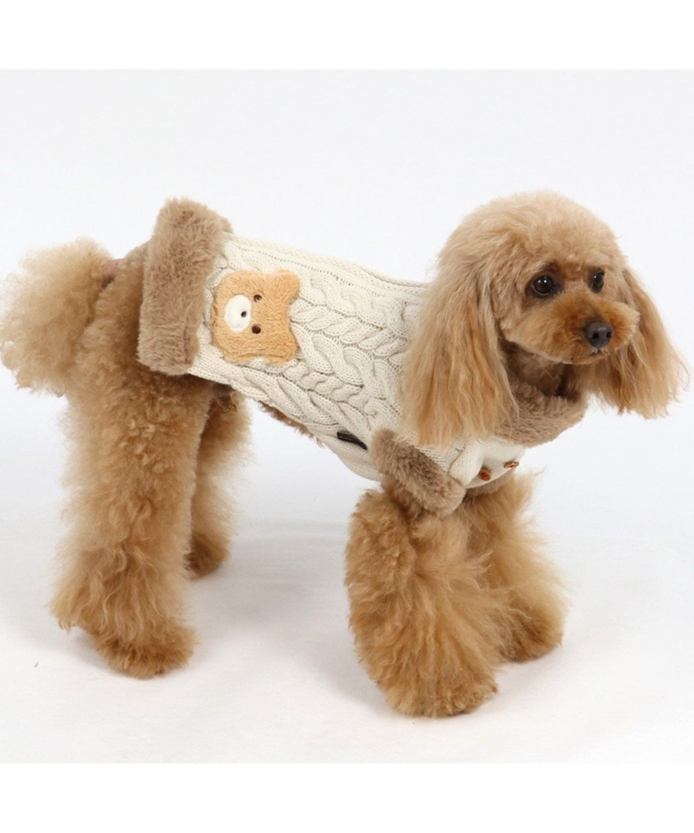 PET PARADISE ペットパラダイス くま 背開き ニットベスト 〔超小型・小型犬〕 白~オフホワイト