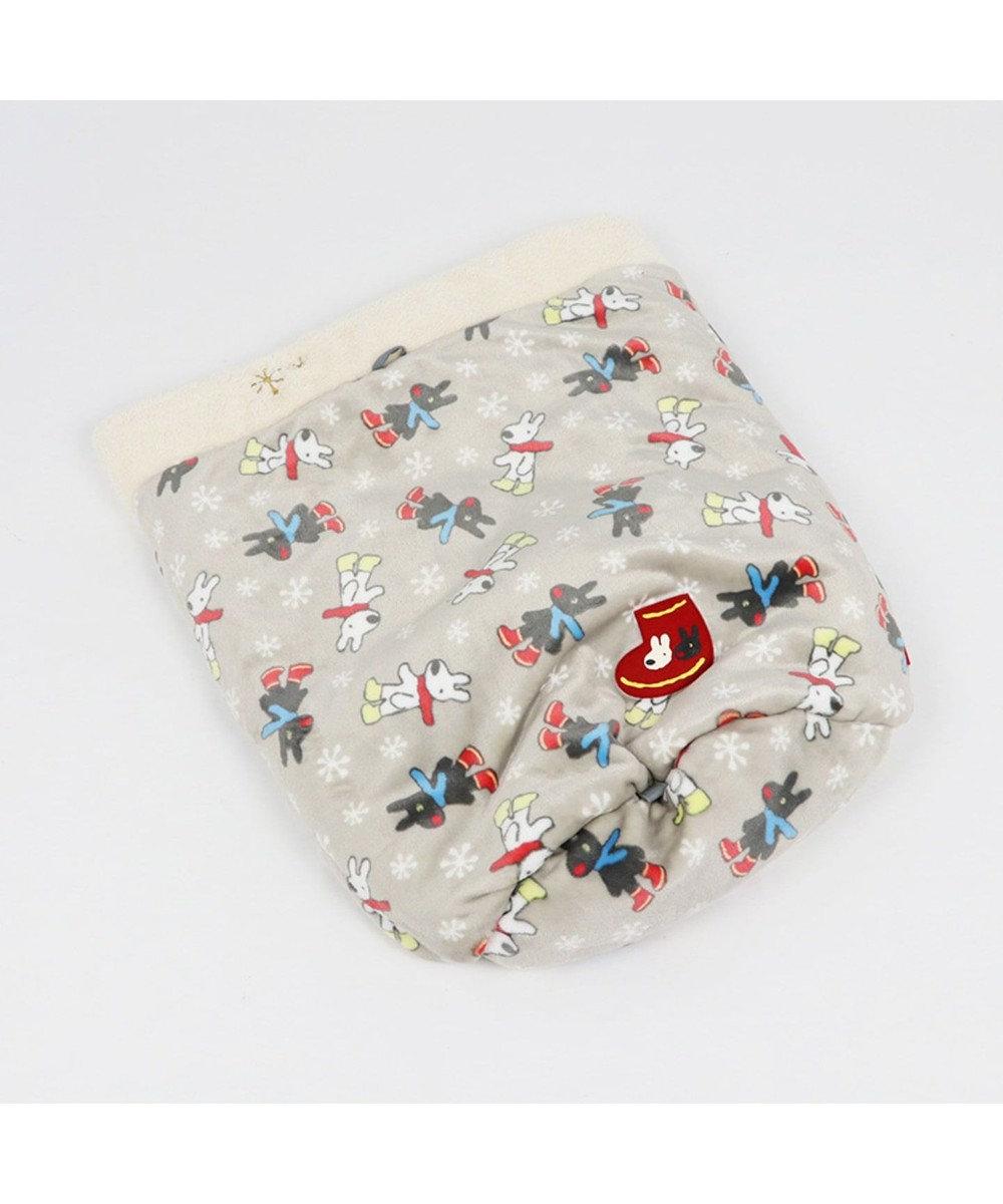 PET PARADISE リサとガスパール 遠赤外線 長ぐつ柄 筒型 寝袋 カドラー グレー