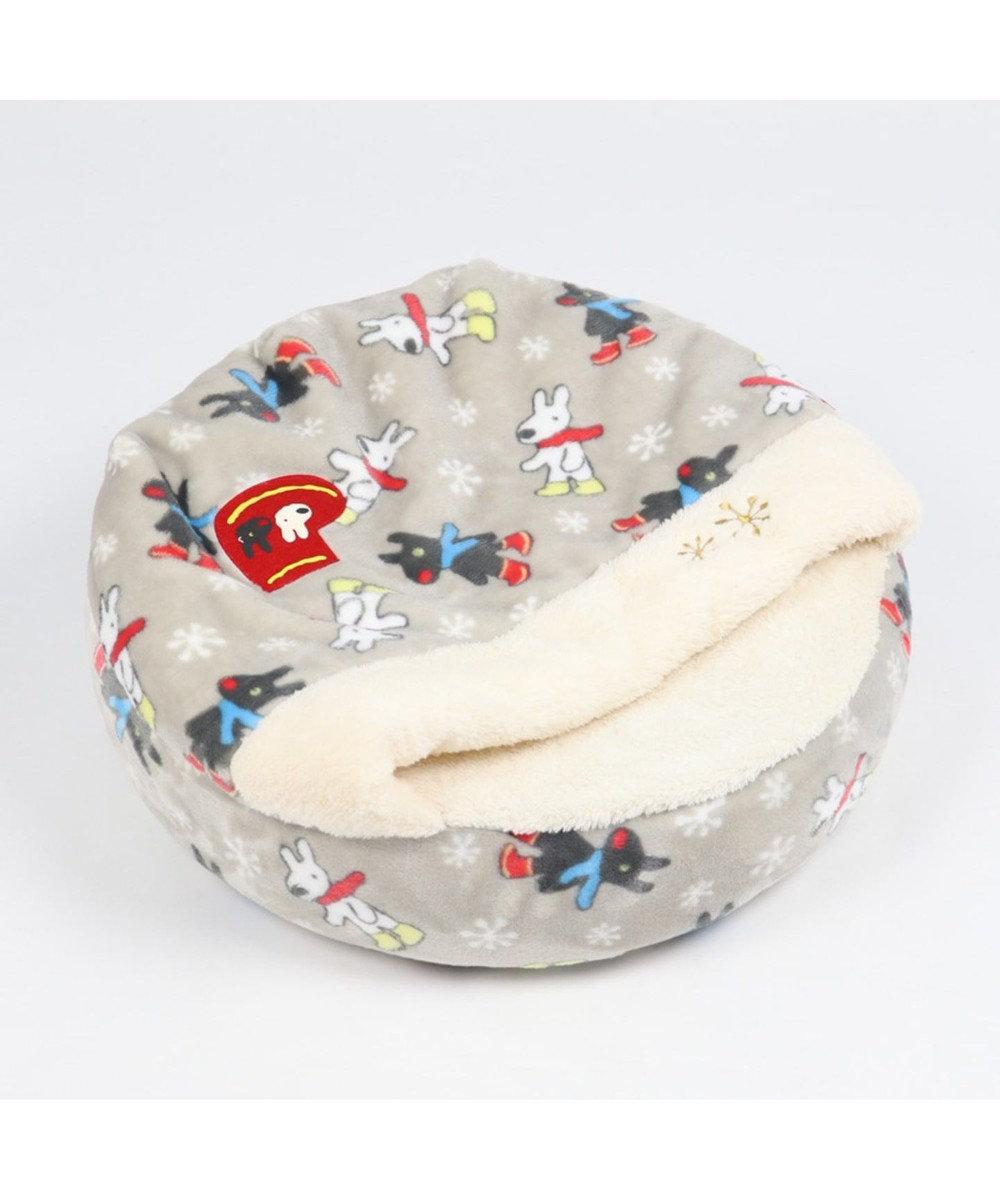 PET PARADISE リサとガスパール 遠赤外線 長ぐつ柄 丸型寝袋カドラー S 50cm グレー