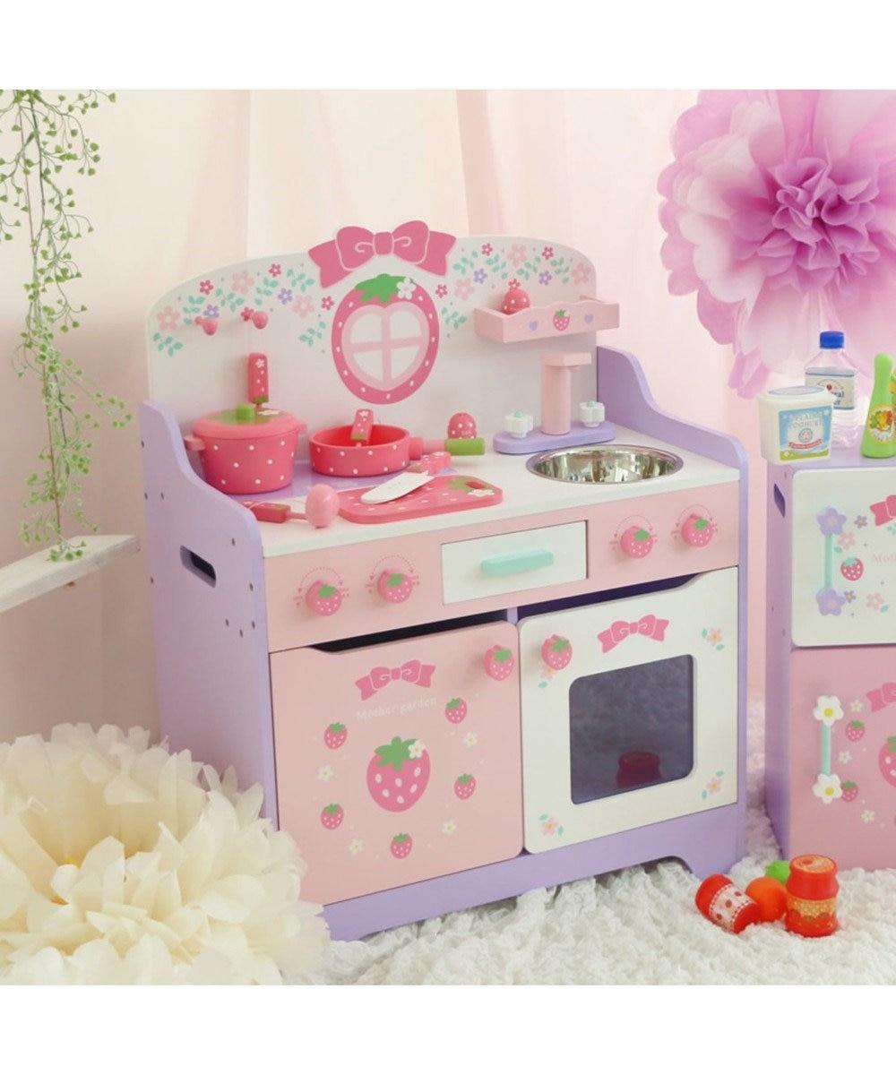 Mother garden マザーガーデン 木製 ままごと 野いちご 組立 キッチン 《フローラル柄》 ままごとキッチン 知育玩具 おもちゃ 木のおもちゃ 3歳 4歳 お誕生日プレゼント 子供の日 ピンク(淡)