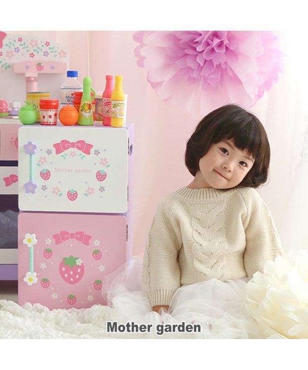 Mother garden マザーガーデン 木製 冷蔵庫《フローラル柄 ピンク(淡)