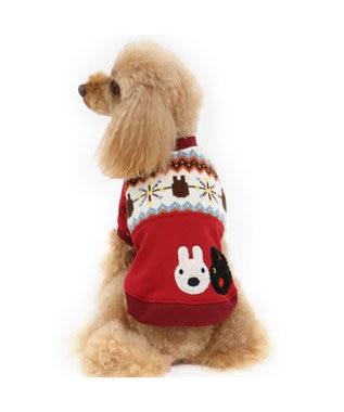 PET PARADISE リサとガスパール ニット切替トレーナー 〔超小型・小型犬〕 赤