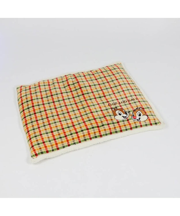 PET PARADISE ディズニー チップとデール 遠赤外線 チェック柄 ラグ マット オレンジ