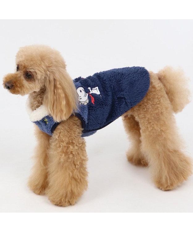 PET PARADISE スヌーピー フライングエース ボア ベスト ネイビー〔超小型・小型犬〕