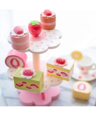 Mother garden マザーガーデン 木のおままごと プレミアムBOX ケーキセット 《ストロベリー ティーパーティーセット》 ままごと 野いちご プレミアムセット 女の子 食材 知育玩具 知育玩具 おもちゃ 木のおもちゃ 白~オフホワイト