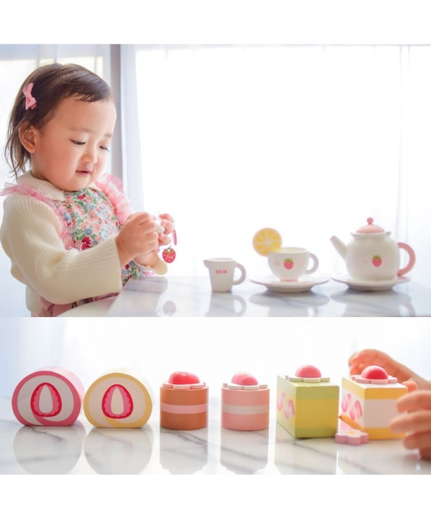 Mother garden マザーガーデン 木のおままごと プレミアムBOX ケーキセット 《ストロベリー ティーパーティーセット》 ままごと 野いちご プレミアムセット 女の子 食材 知育玩具 知育玩具 おもちゃ 木のおもちゃ
