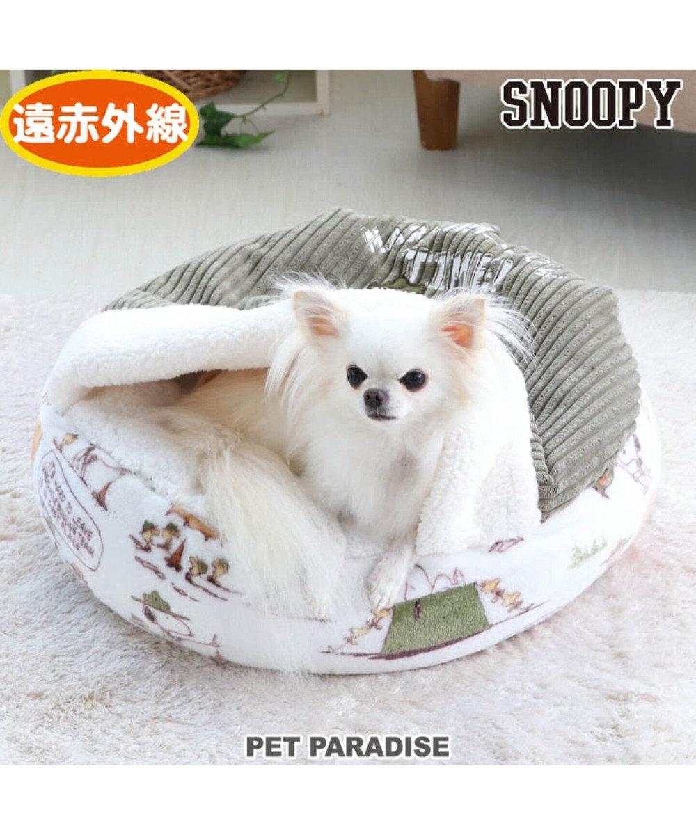 PET PARADISE 【期間限定5%ポイントUP】スヌーピー スカウト柄 丸型 寝袋 S (50cm) 白~オフホワイト
