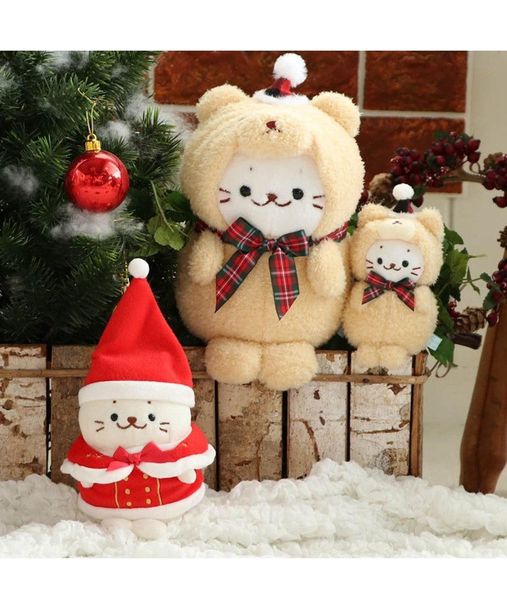 Mother garden しろたん お座り クリスマスベア ぬいぐるみキーホルダー 10cm ピンク(淡)