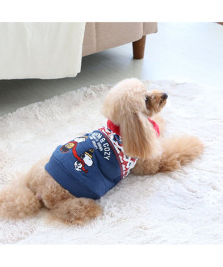 PET PARADISE スヌーピー ほっこりベスト 紺X赤 〔超小型・小型犬〕 赤