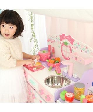 Mother garden マザーガーデン 木製 ままごと 野いちご 組立 フローラルキッチン &キッチンツール10点セット《ミント》 2アイテムセット ままごとキッチン 知育玩具 おもちゃ 木のおもちゃ 3歳 4歳 お誕生日プレゼント 0