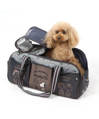 PET PARADISE スヌーピー ブラウン 四角 キャリーバッグ ML ロング〔小型犬〕 黒