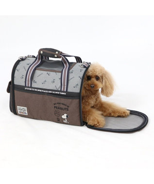 PET PARADISE スヌーピー ブラウン 折り畳み キャリーバッグ M 〔小型犬〕 黒