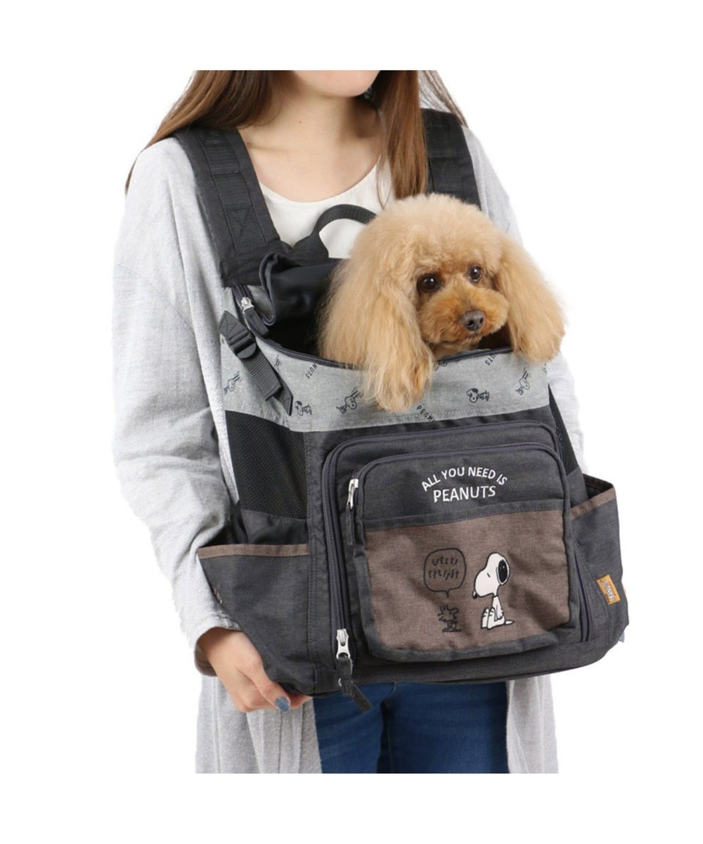 PET PARADISE スヌーピー ブラウンハグ&リュック キャリーバッグM 〔小型犬〕 カーキ