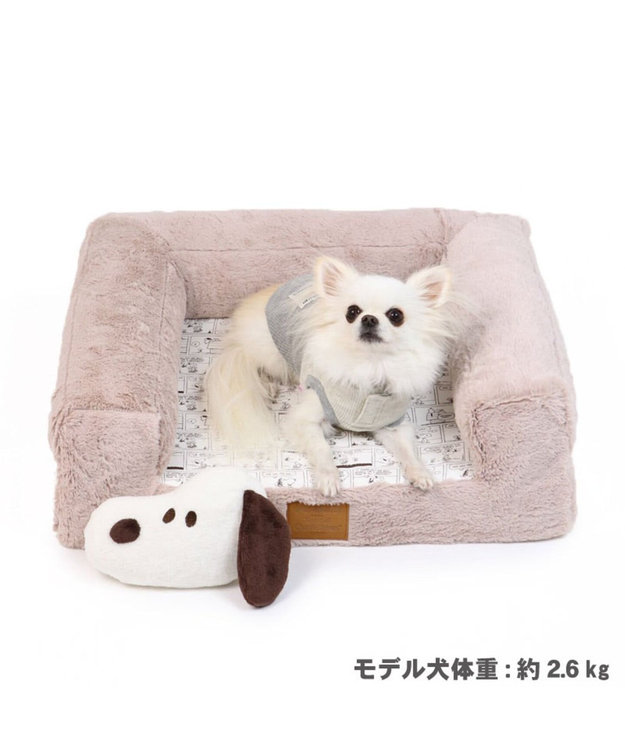 PET PARADISE スヌーピー リッチ ソファ ベッドカドラー (57×47cm) ベージュ