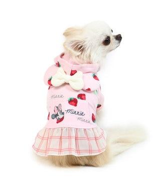 PET PARADISE ディズニー ミニーマウス 苺総柄 パーカー 〔超小型・小型犬〕 ピンク(淡)