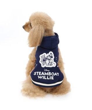 PET PARADISE ミッキーマウス 蒸気船ウィリー 音符 パーカー〔超小型・小型犬〕 紺(ネイビー・インディゴ)