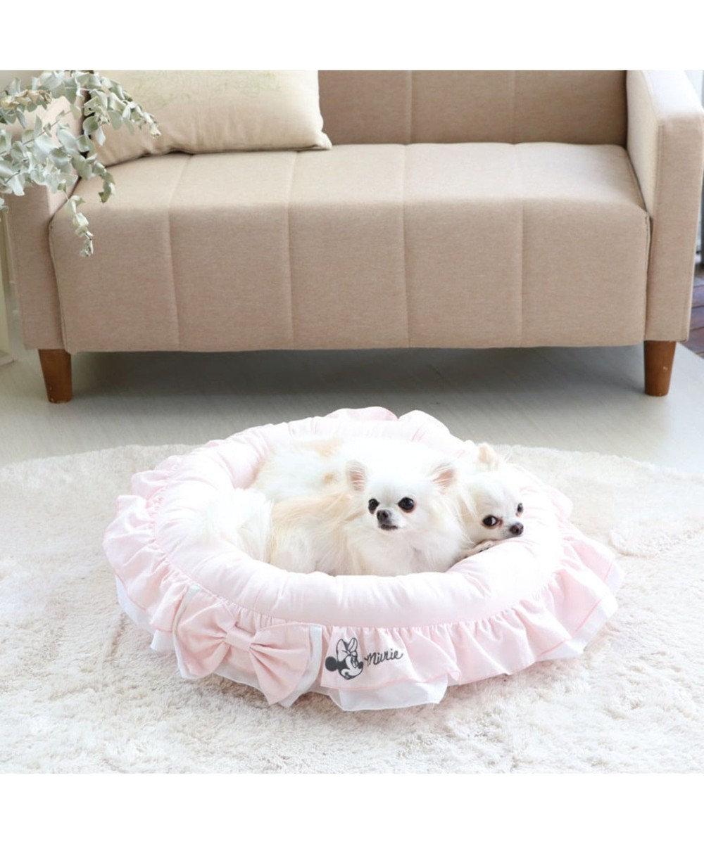 PET PARADISE ディズニー ミニーマウス 苺フリル カドラー ベッド(55cm) ピンク(淡)