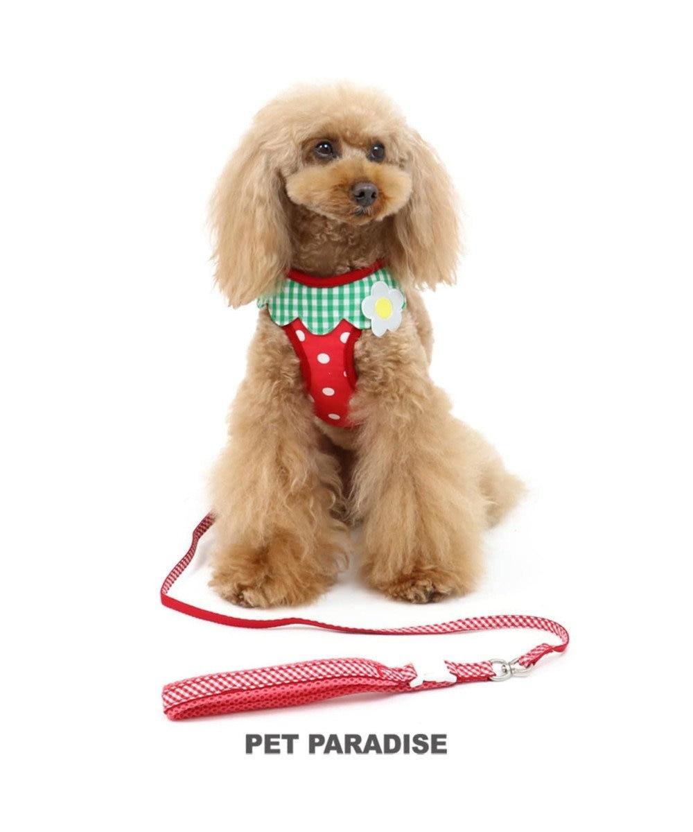 PET PARADISE ペットパラダイス 反射 苺柄 ハーネスリード SS〔小型犬〕 赤