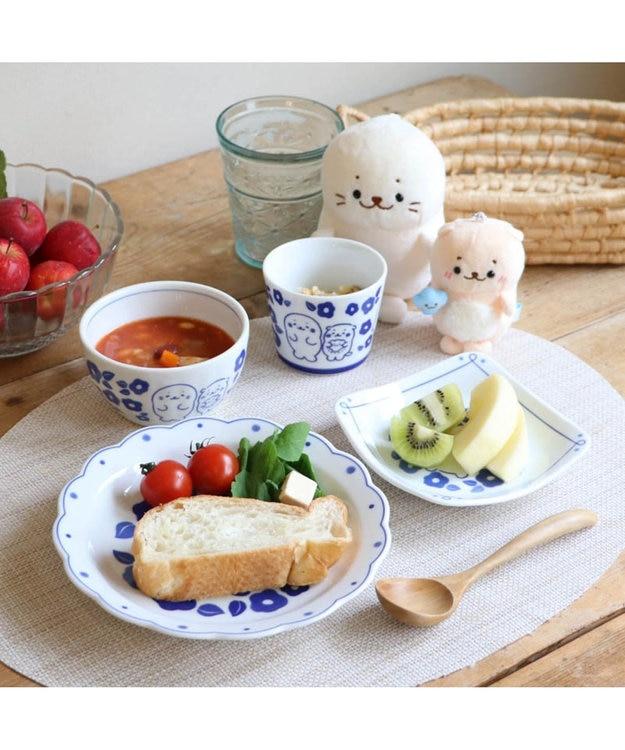 Mother garden しろたん 和食器 しろたん&らっこいぬ 椿柄 花割平皿 日本製 プレゼント 父の日 母の日