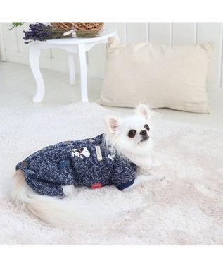 PET PARADISE スヌーピー ボア ワーク つなぎ 〔超小型・小型犬〕 紺(ネイビー・インディゴ)