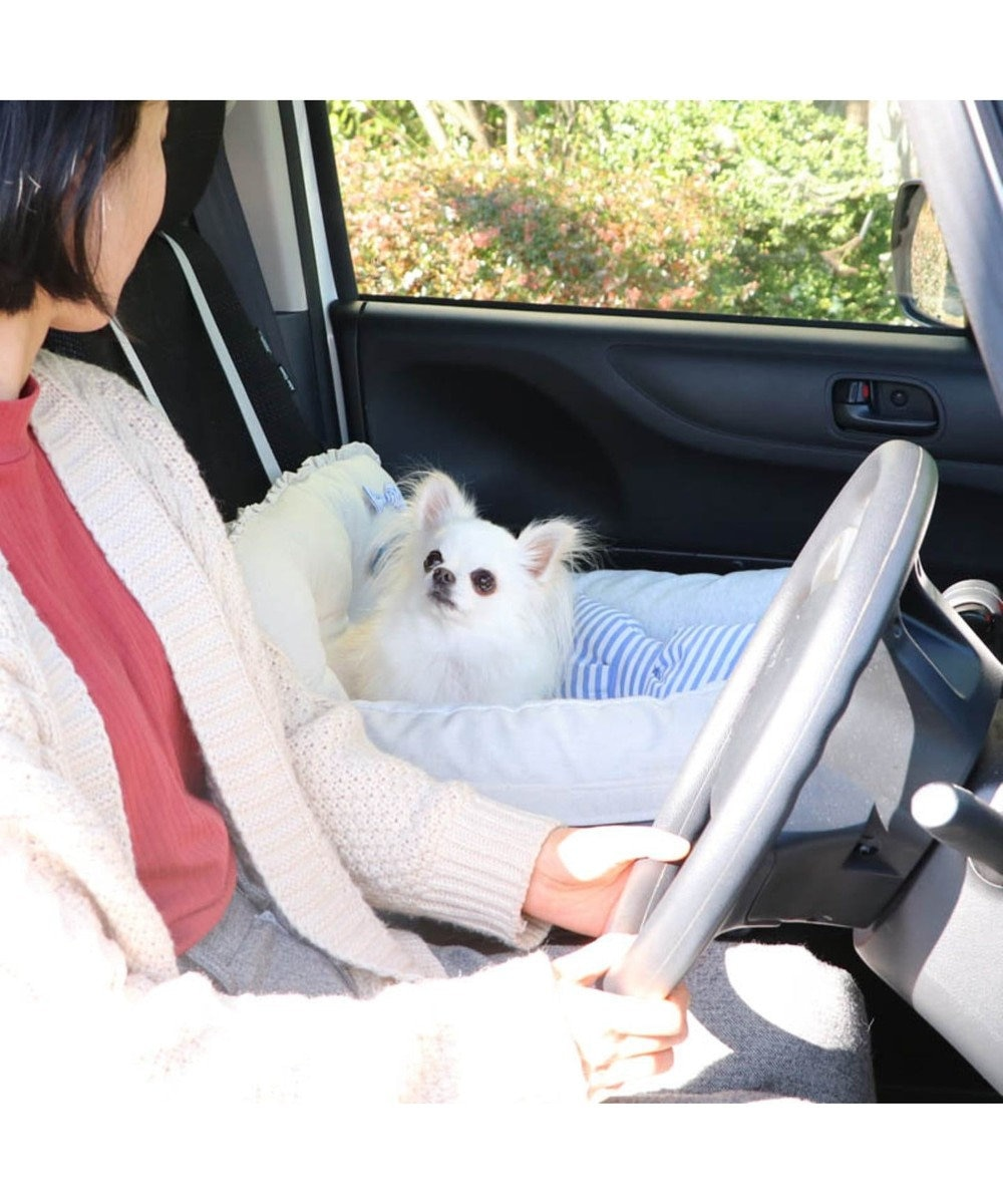 PET PARADISE ペット ベッド ドライブ カドラー 【小型犬】 りぼん  犬 ドライブ ボックス ドライブシート ドライブベット ドライブベッド ドライブカドラー キャリーバッグ お出掛け 移動 車 おしゃれ かわいい ふわふわ 春 夏 秋 冬 水色