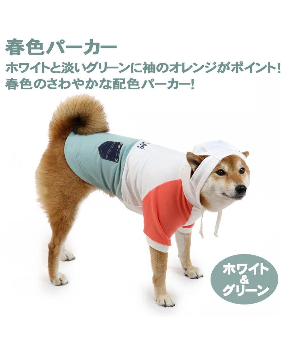 PET PARADISE Lee 春 パーカー ホワイト&グリーン〔中型犬〕 0