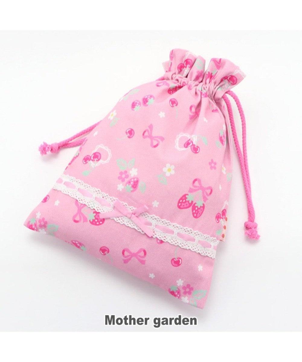 Mother garden マザーガーデン 野いちご 巾着 小  《ブーケ柄》 着替え袋 ピンク(淡)